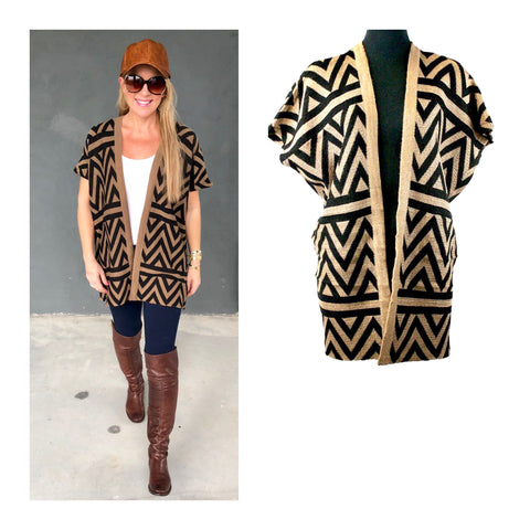 Taupe & Black Abstract Knit Poncho Vest