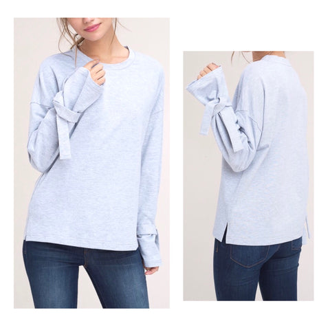 Heather Grey French Terry Tie Sleeve Top