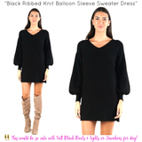 Black Ribbed Knit Balloon Sleeve Sweater Dress