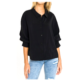 Teal, Black or White Silky Balloon Sleeve Button Down Blouses with Pleated Back