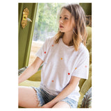 White Fine Knit Tee with Embroidered Multicolor Hearts