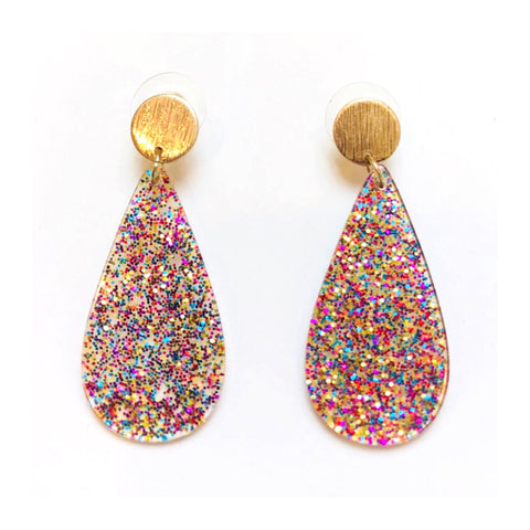 Confetti & Brushed Gold Teardrop Earrings