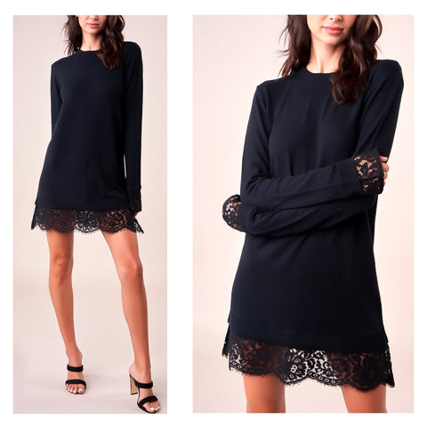 Black Fine Knit Lace Trim Sweater Dress