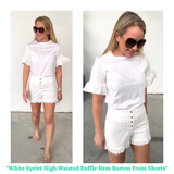 White Eyelet High Waisted Ruffle Hem Shorts with Button Detail