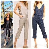 Blue OR Taupe Linen Jumpsuit with V-Back & Tie Waist