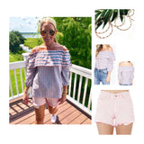 Baby Pink OR WHITE High Waisted Distressed Denim Shorts