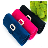 Pink Navy or Black Faux Suede Clutch or Shoulder Bag with Rhinestone Buckle