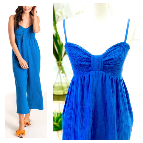 Cobalt Blue Cropped Wide Leg Woven Jumpsuit with Gathered Front