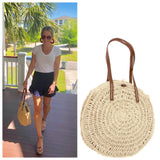 Round Soft Sided Woven Straw Shoulder Bag with Brown Straps