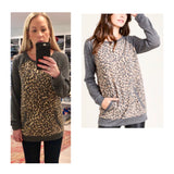 Grey & Taupe Leopard Baby French Terry Top with Raglan Sleeves & Kangaroo Pocket