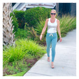 Sage Green Stretchy High Waisted Jogger Pants