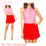 Pink & Red Color Blocked Crochet Lace Sleeveless Romper