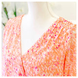 Blush Pink Lavender & White Faux Wrap Blouse with Bubble Hem