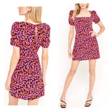 Black Pink & Orange Floral Cinched Puff Sleeve Dress with Square Neckline & Keyhole Back