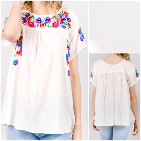 Ivory Short Sleeve Top with Multicolor Flower Embroidery