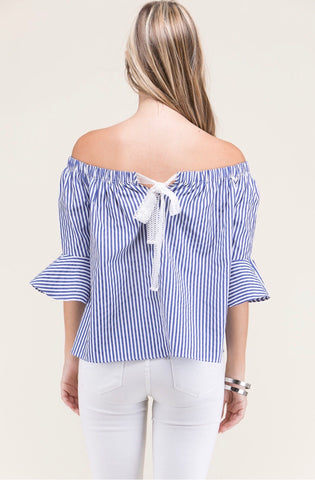 Blue White Stripe 3/4 Bell Sleeve Top with Back Ribbon Tie