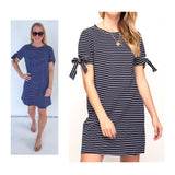 Navy White Stripe Knit Shift Dress with Tie Sleeves