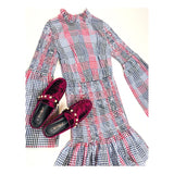 Red & Black Smocked Gingham Bell Sleeve Ruffle Hem Dress