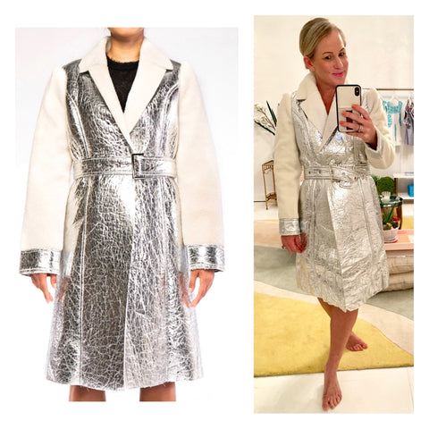 Metallic PU Leather Fully Sherpa Lined Belted Trench Coat