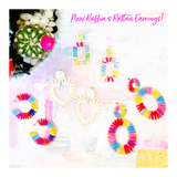Rainbow Ombré Rattan Raffia Hexagon Hoops