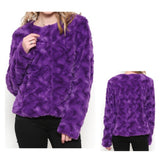 Imperial Purple Lightweight Faux Fur Jacket with a Funky COOL Wave Weave Design