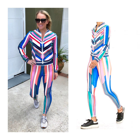 Rainbow Stripe Athletic Leggings (Matching Jacket Sold Separately)