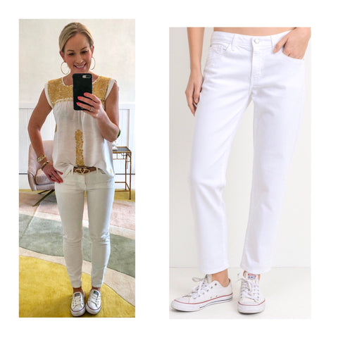 Optic White High Waisted Slim Boyfriend Style Jeans