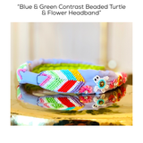 Blue & Green Contrast Beaded Turtle & Flower Headband