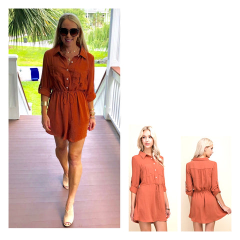 Terracotta 3/4 Sleeve OR Long Sleeve Button Down Shirtdress with Tie Waist