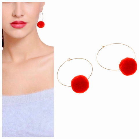 Red and Gold Pom Pom Hoops