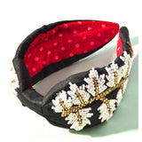 Black White & Gold Beaded Floral Headband with Red Interior Contrast
