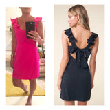Electric Pink OR Black Ruffle Sleeve Dress with Open Bow Tie Back & Banded Waist