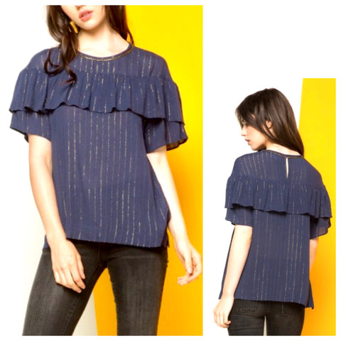 Navy & Metallic Gold Pinstripe Short Sleeve Top with Ruffle Bust & Keyhole Back