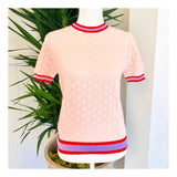 Baby Pink Open Knit Short Sleeve Sweater with Lavender & Poppy Red Banded Trim