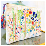 White Textured Multicolor Floral Embroidered Clutch with Tassel Pull
