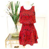 Red & Navy Smocked Waist Sleeveless Tiered Ruffle Hem Dress with Keyhole Back