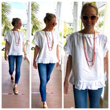 White Lace Up Short Sleeve Top with Ruffle Sleeves & Hem