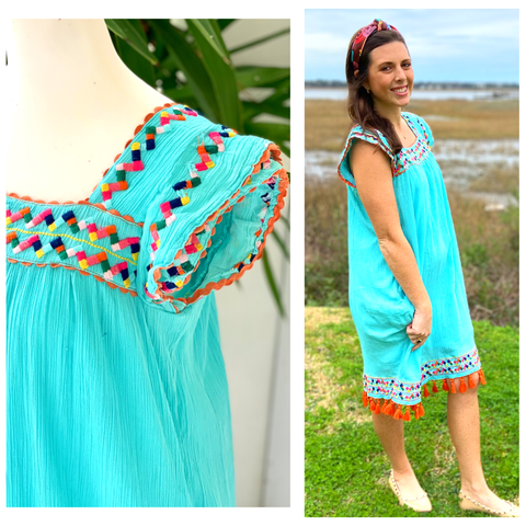 St Barths Turquoise & Orange Embroidered Tassel Dress (Matching Child Version Sold Separately)