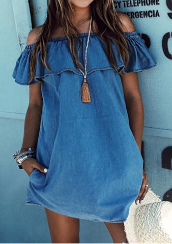 Off The Shoulder Denim Dress with Ruffle