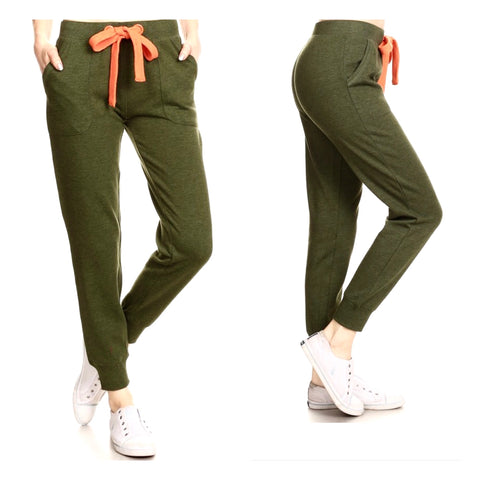 Olive Green Cuffed Jogger Pants with Orange Drawstring Waist (up to size 3XL)