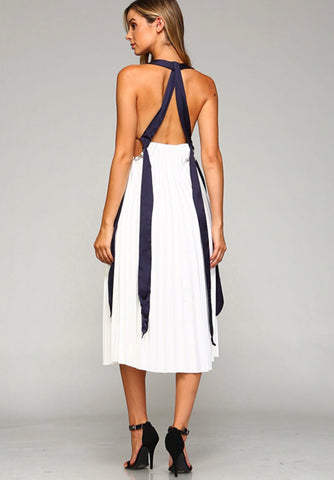 White Sleeveless Midi Pleated Dress with Open Back and Navy Ribbon Trim Detail