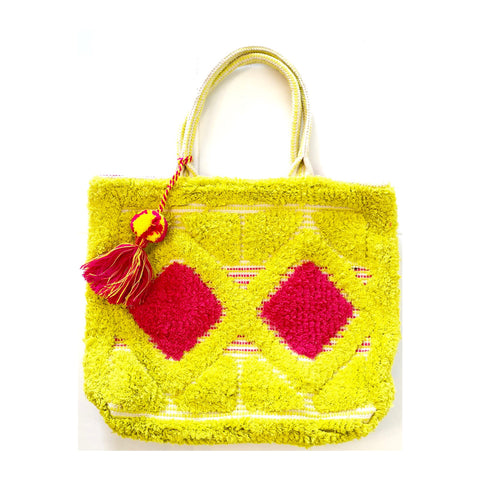 Yellow Fuchsia & White Terry Embroidered Tassel Tote