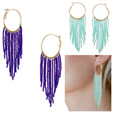 Mint Green and Gold or Blue & Gold Beaded Curtain Drop Hoop Earrings