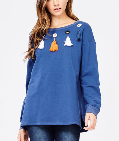 Cobalt Blue Tassel Sweater with Grommets - FINAL SALE -