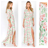 White Pink & Green Floral Print Smocked Waist 3/4 Sleeve Maxi Dress with Ruffle Trim & Optional Tassel Tie