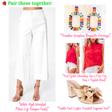 White High Waisted Cropped Flare Trouser Pants