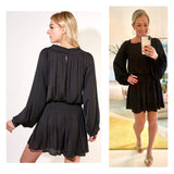 Black Square Flounce Dress with Smocked Waist & Bust & Keyhole Back