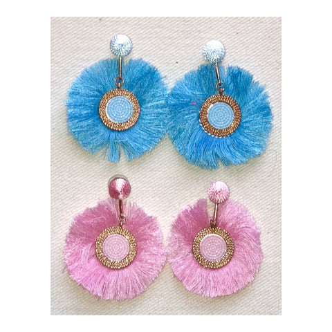 Turquoise OR Pink Beaded and Gold Circle Fringe Earrings