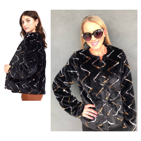 Black Faux Fur Jacket with Silver & Gold Fur Accents