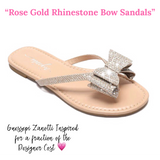 Rose Gold Rhinestone Bow Sandals